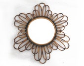 Amazing Mid century french wicker SUNBURST MIRROR, beautiful sunflower shape, Home Decor, French Riviera
