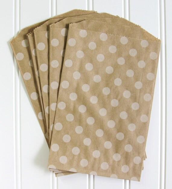 10 Polka Dot Kraft Bags (Treat Bags, Favor Bags, Gift Wrap, Envelopes) - 5 x 7.5 inches