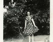 "Vintage Photo ""Polka Dot Fashion"" Girl Wearing Dress Snapshot Antique Photo Black & White Photograph Found Paper Ephemera Vernacular - 66"