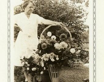 "Vintage Photo ""Beautiful Flowers"" Woman Funeral Snapshot Old Antique Photo Black & White Photograph Found Paper Ephemera Vernacular - 165"