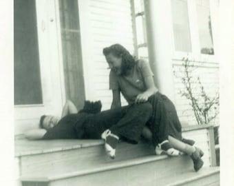 "Vintage Photo ""Porch Stories"" Women Laughing Home Snapshot Photo Old Antique Photo Black & White Photograph Found Photo Paper Ephemera - 192"