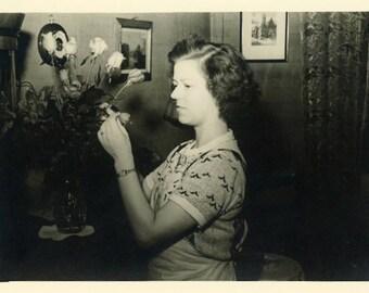 "Vintage Photo ""Anniversary Flowers"" Snapshot Photo Old Antique Photo Black & White Photograph Found Photo Paper Ephemera Vernacular - 126"