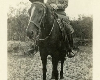 "Vintage Photo ""Ranger Rick"" Men Man Riding Horse Old Snapshot Antique Black & White Photograph Found Photo Paper Ephemera Vernacular - 126"