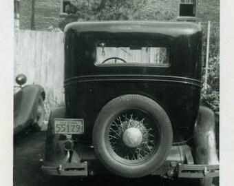 "Vintage Photo ""An Old Relic"" Auto Classic Car Snapshot Photo Old Antique Photo Black & White Photograph Found Photo Paper Ephemera - 146"