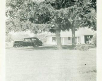 "Vintage Photo ""The Friday Visitor"" Car House Home Snapshot Old Antique Photo Black & White Photograph Found Paper Ephemera Vernacular - 137"