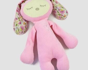 Personalized Baby Girl Gift - Pink Bunny - Good Night Bunny - Baby Shower Gift - Rabbit Softie - Gift for Girl - Newborn Girl - Sleepy Eye