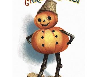 Halloween Card   Pumpkin Man   Repro Ellen Clapsaddle Notecard   Vintage Style