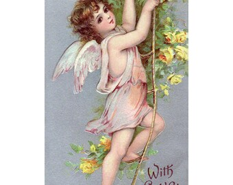 Valentines Day Card - Cupid Climbs a Ladder of Love Valentine - Vintage Style Brundage