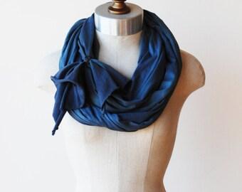 smokey blue jersy knit scarf, infinity, circle, cowl, accessory
