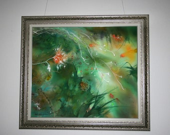 Fantasy art, print on canvas, giclee, green landscape, relaxing, psychology, firebird, meditation, painting, herbage, greenery, vegetation