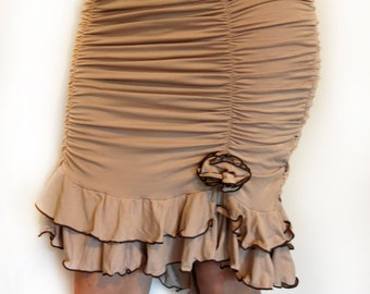 Rose Burlesque Skirt - Cream - pirate, gypsy, hooping, steampunk, festival clothing