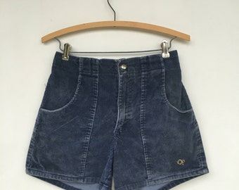 Vintage OP Ocean Pacific Blue Corduroy High Waist Shorts 30