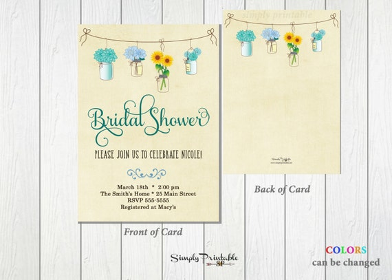 Rustic Bridal Shower Invitation, Mason Jar Bridal Shower Invite, Bridal Shower Invite, Floral Bridal Shower