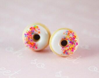 Rainbow donut earrings - Food Earrings - Vanilla Frosted hypoallergenic (Surgical Steel) - Girls Earrings