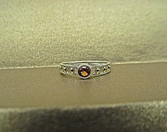 Sterling silver 14k yellow gold citrine ring