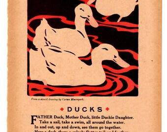 Vintage Nursery Print - Ducks - 1917