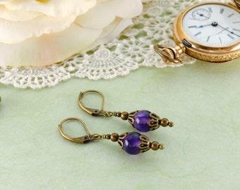 AMETHYST Victorian Earrings, GEMSTONE Victorian Jewelry, Antique Brass Earrings, Amethyst Jewelry, Steampunk Jewelry by VictorianCuriosities