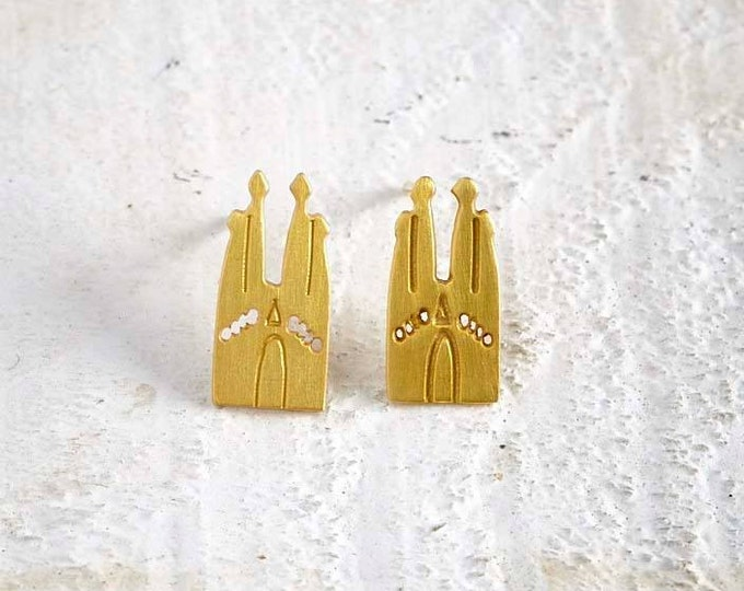 Sgrada Familia Gold plated bronze Earrings silver hooks Stud earrings famous Architectural Buildings European Capitals Paris travel world
