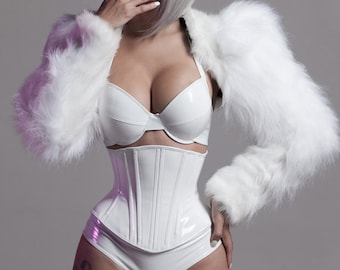 """XS White PVC """"Formal"""" high waisted underwear (production sample)"""