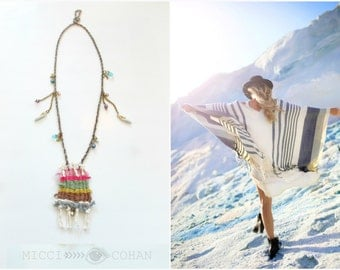 Handwoven Pendant  / Glass Beaded Swarovski Crystal and Pearl Chain Necklace