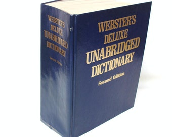 Vintage Dictionary Large Websters Unabridged Dictionary Navy Blue Decorative Book 1980s Home Decor Second Edition Reference Book