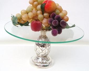 Vintage Silver Pineapple, Glass Cake Display, Pedestal Stand, Godinger Silver Art, Centerpiece Display