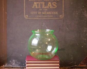 Vintage Green Vaseline Glass Fishbowl