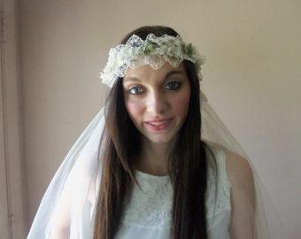Bohemian Wedding Veil, Boho Bride, Something Old, Vintage Glamour, Wedding Accessory, Vintage Wedding Veil:  LILLIAN - BBD-102
