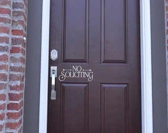 No Soliciting KW1257 vinyl wall decal home removable vinyl door no soliciting front door decor