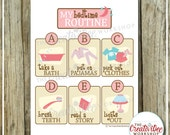 Bedtime Routine Chart | Pink Theme | Evening Routine Chart | Night Routine | Children's Routine Chart | Girl Theme | Instant Download