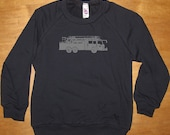 Fire Truck Shirt - Kids Sweatshirt Fire Engine / Fire Fighter Boys or Girls Long Sleeved Navy Blue - Fleece Shirt - 2T, 4T, 6, 8, 10, 12