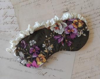 Floral Cotton Sleep Mask in Brown, Purple, Ivory // Satin Eye Mask