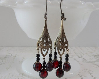 Art Nouveau Chandelier Earrings // Brass, Red, Black