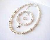 Flower Girl Jewelry Set, Flower Girl Necklace Set Bracelet Earrings, Girls Pearl Jewelry Set, Flower Girl Gift Personalized, Initial Jewelry