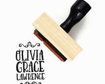 Custom Name Rubber Stamp (Three Lines) - Business or Personal Name Stamp - Branding Personalized Customized