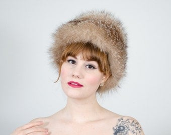1950s vintage hat / crystal fox fur hat / Garfinckel's