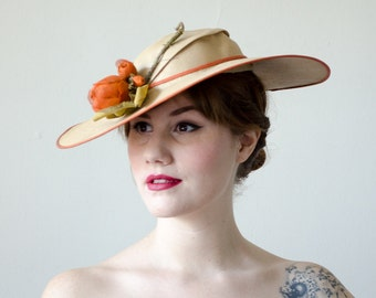1930s vintage hat / wide brim straw hat / I. Miller