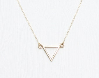 Strength triangle necklace in gold