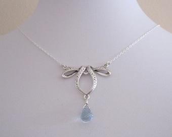 Natural blue TOPAZ heart teardrop gemstone ribbon festoon sterling silver necklace