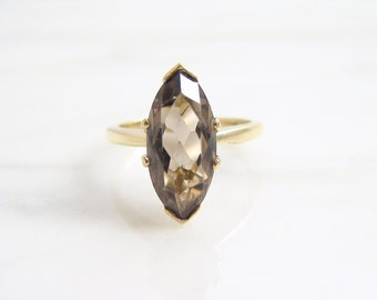 Vintage 2.5ct Marquise Smoky Quartz Solitaire Ring 14k Yellow Gold