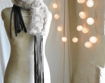 Shearling Scarf with Leather Fringe Tassels - Available in Grey Beige or Black.  Made to Order. Free Shipping