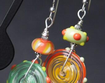 Asymmetrical Orange Yellow Lime Green Lampworking Sterling Silver Earrings