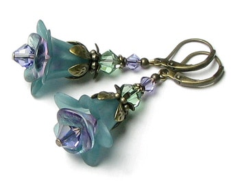 Teal Twilight Blue Green Flower Swarovski Crystal Antique Brass Lever Back Earrings Tanzanite Turquoise Aqua Vintage Jewelry Gift For Women