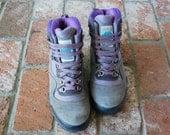 Vtg Womens 8.5 Tecnica Trekking Goretex Leather Canvas Hi Tops Sneakers Hiking Hiker Trail Peak Boots Alpine Mountaineering Hipster Neon 90s