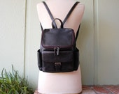 Vintage Leather Hillard and Hanson Small Black Backpack Ruck Sack Pouch Organizer Id Holder Wallet Boho Hobo Bag Fashion Moto 90s 80s Mod