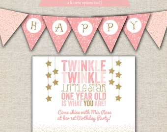 Twinkle Twinkle Little Star First Birthday Party Kit printable invitation, thank you card, banner, signs, party circles, favor tags, labels