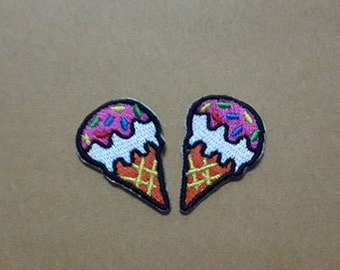 Set 2 pcs Strawberry Ice Cream Cone Applique Embroidered Iron on Patch size 2.2 x 3.4 cm.