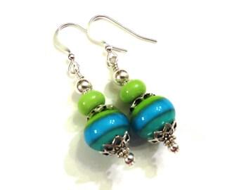 Green & Teal Lampwork Earrings, Green Lampwork Earrings, Lampwork Jewelry, Teal Earrings, Green Earrings