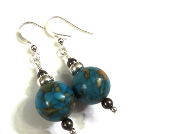 Blue Mosaic Turquoise Earrings With Brown Swarovski Pearls, Brown Earrings, Blue Earrings, Brown Pearl Earrings