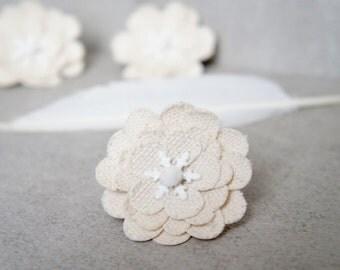 Linen Snowflake Hair Clip - Ivory Snowflake Hair Clip - White Snowflake Pin - White Snowflake Brooch - Tiny Vintage Snowflake Christmas Pin